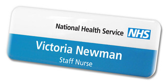 Standard Name Badges - No border and white / blue background | www.namebadgesinternational.ca